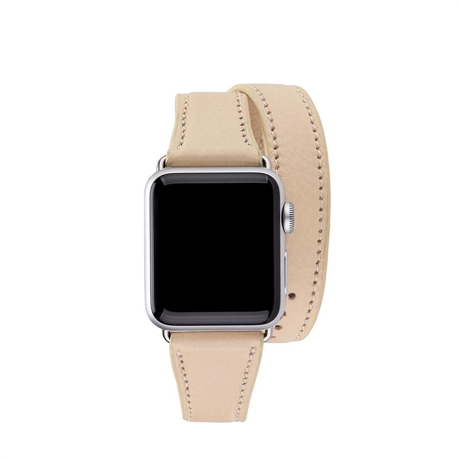 38mm Double Wrap Apple Watch Band Almond Pebble Grain AWD-38MS-FLO-ALM