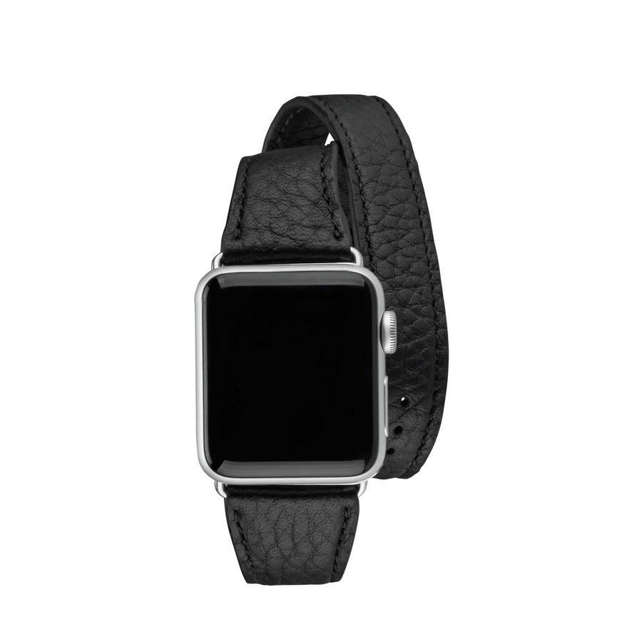 38mm Double Wrap Apple Watch Band Black Pebble Grain AWD-38MS-TIM-BLK