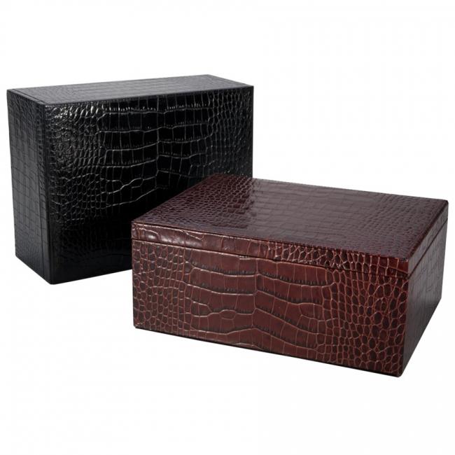 Large Box Crocodile Embossed Leather
