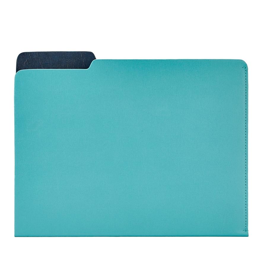 Carlo File Folder Bermuda Blue Embossed Leather CAR-EMB-BEB