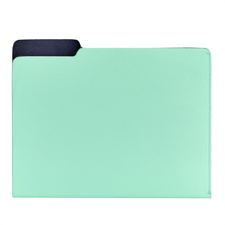 Carlo File Folder Aqua Nappa Cowhide CAR-FLO-AEG