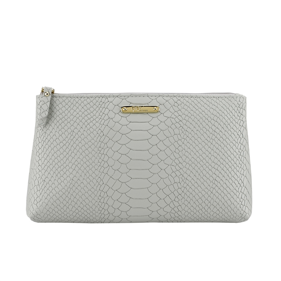 Large Comestic Case Oyster Embossed Python Leather CBM-PYY-OYS