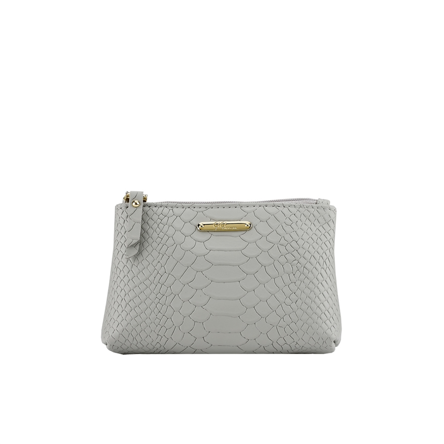 Small Comestic Case Oyster Embossed Python Leather CBS-PYY-OYS