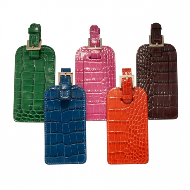 Luggage Tag  Crocodile Embossed Leather