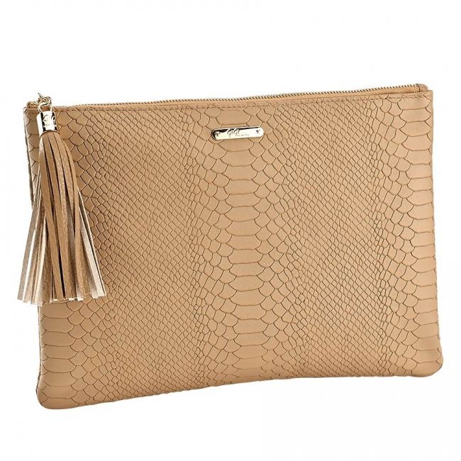 Sand Uber Clutch - Embossed Python