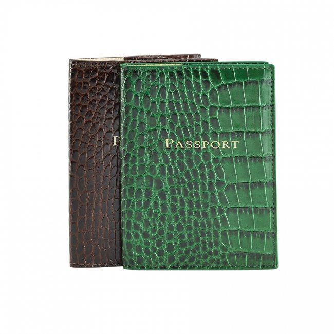 Passport Holder  Crocodile Embossed Leather