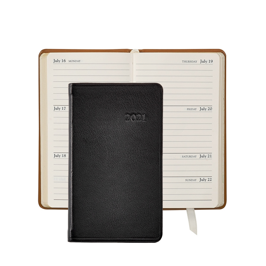 """""""Keep on schedule while on the go. For those who desire a slightly smaller more compact diary featuring week-at-a-view pages. Includes national holidays for United States and Canada, all U.S. area codes and International dial codes, traditional gift ideas for anniversaries and birthdays, plus much more. This classic size fits conveniently into a shirt pocket or small purse.   Size: 3"""""""" x 5"""""""", 156 pages Traditional soft, full-grain calfskin leather  Week-at-a-view, pocket datebook Smyth sewn for strength and longevity  Cream-white, acid-free paper with gilt edges All Traditional leather dates are pre-stamped, blind embossed Personalization is availableAvailable In                                                                                                                                """""""